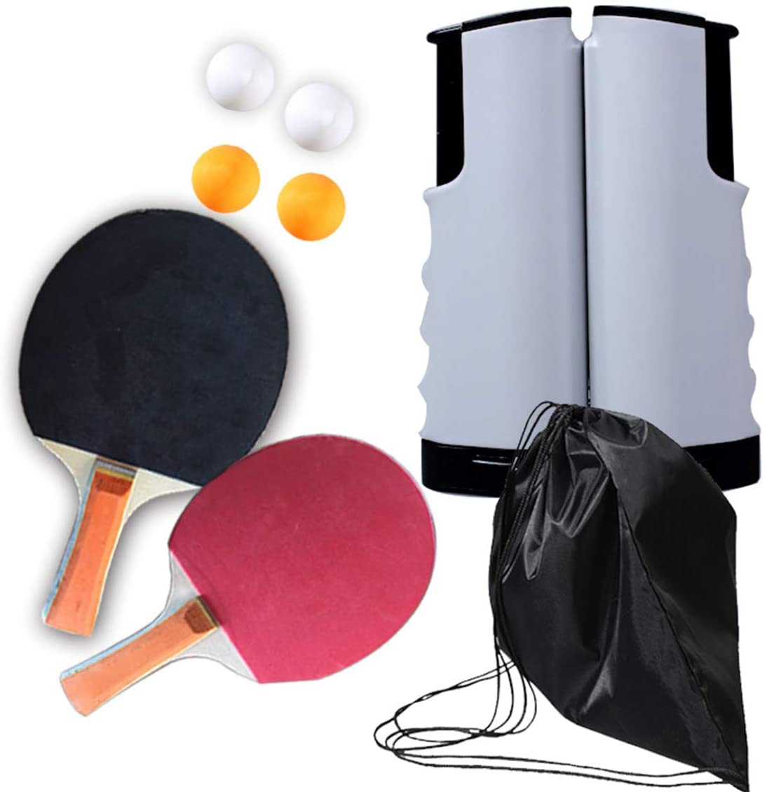 HelloCreate Table Tennis Racket Telescopic Net Rack Set, Portable Table Tennis Set Retractable Table Tennis Net Rack + 2 Table Tennis Bats + 4 Balls for Home Office