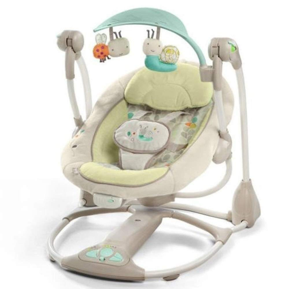 Laz Baby Rocking Chair Baby Bouncer Chair Electric Intelligent Swing Music Rattles,Soft,Multifunction,foldtable New-Born Baby Swing Chair, Suitable from Birth (Color : B-Yellow)