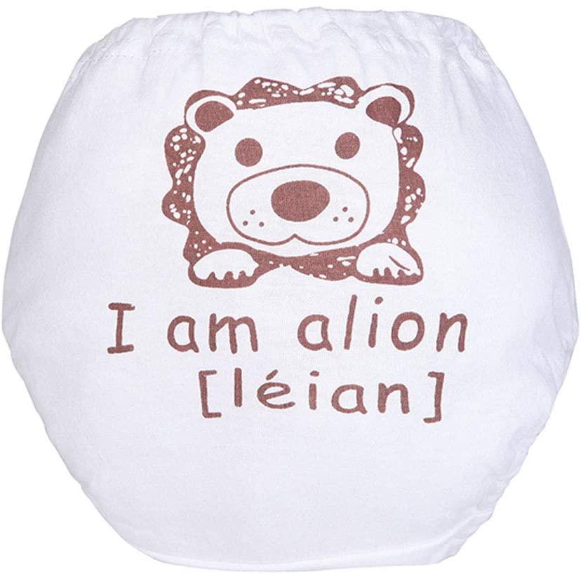 ACHICOO Baby Cloth Cartoon Anti Sliding Sideways Printing Nappy Reusable Diaper White Letter Lion 90