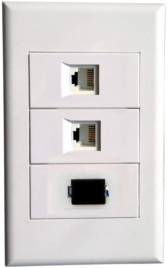 Wall Plate with 2 RJ11 + SC Modules,Telephone Cat3 Keystone Connectors Jack/Plug Wall Mount Faceplate Cover for Cabling System (Type118C)