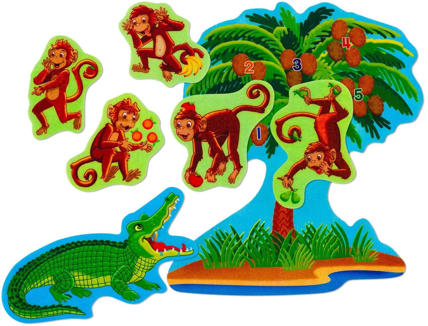 Little Folk Visuals Five Monkeys Sitting in a Tree Precut Flannel/Felt Board Figures, 7 Pieces Set