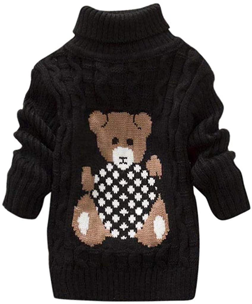 Kids Baby Girls Boy Bear Print Sweater Knit Crochet Tops Coat,SIN vimklo(1-6 Years)