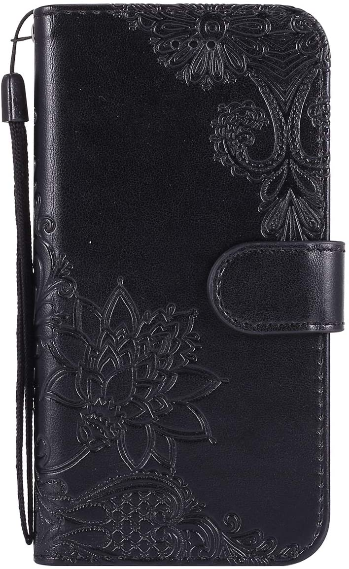 Herbests Compatible with Samsung Galaxy S6 Edge Case Emboss Flower Luxury Design Pattern Flip PU Leather Wallet Case Cover with Wrist Strap Stand Card Holder Bookstyle Magnetic,Black