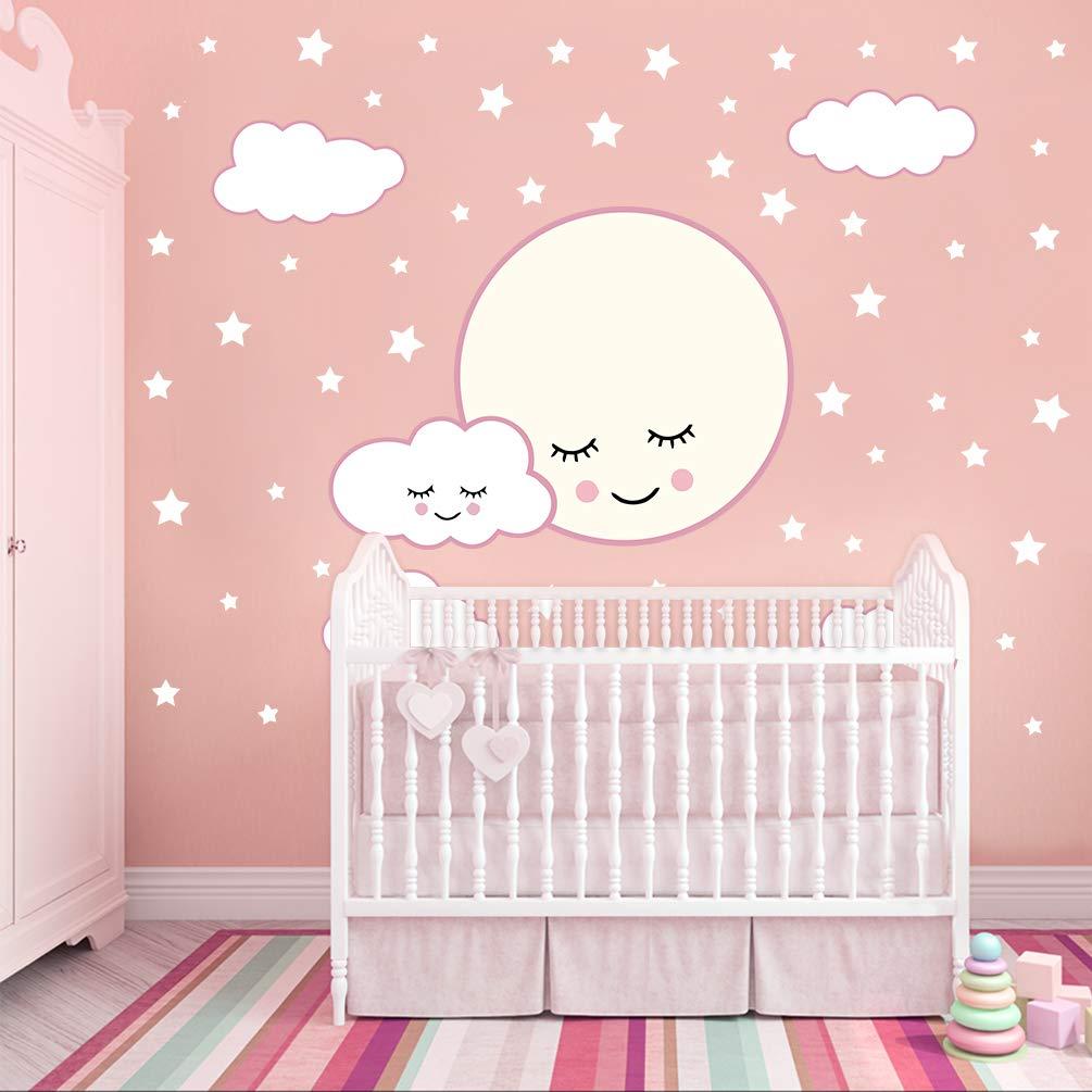 DEKOSH Moon, Stars & Clouds Nursery Wall Decals   Peel & Stick Decorative Kids Wall Stickers for Baby Nursery, Playroom Mural