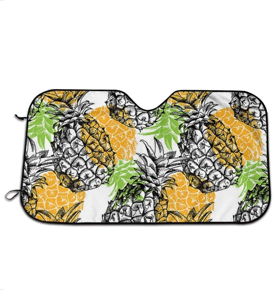 Yellow Pineapple Front Windshield Sun Shade Folding Auto for Car Blocks UV Rays Sun Visor Glare Protector