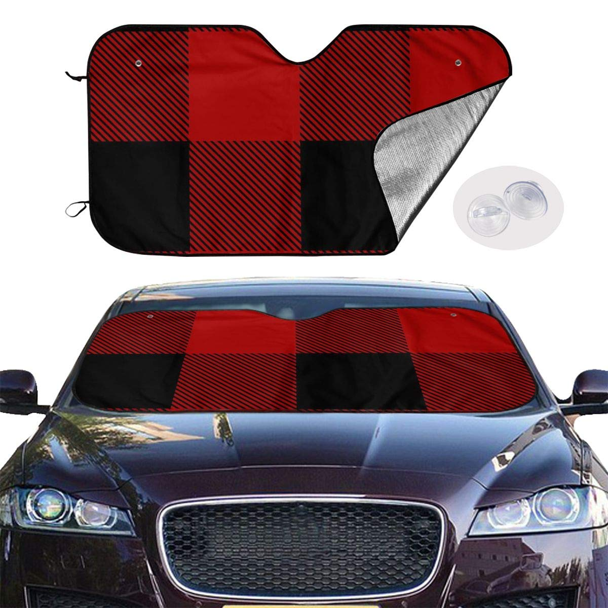 Red Tartan Car Sunshade Window Windscreen Cover,Automotive Window Protector Sunshade Uv Sun and Heat Reflector for Car Truck SUV,Keep Your Vehicle Cool and Damage Free