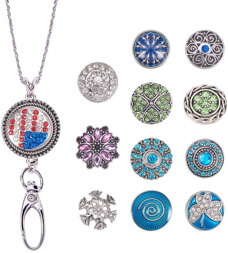 SUNNYCLUE 1 Set 30 Women Office Lanyard ID Badges Holder Necklace with 12pcs Alloy Breakaway Rhinestone Snap Buttons Charms Jewelry Pendant Clip(Round)