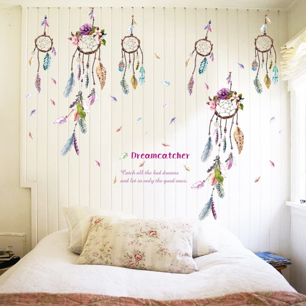 TUANTUAN 1 Sheet Dream Catcher Feathers Wall Sticker Mural Art Removable Decals for Classroom Offices Kids Bedroom Bathroom Living Room Decoration