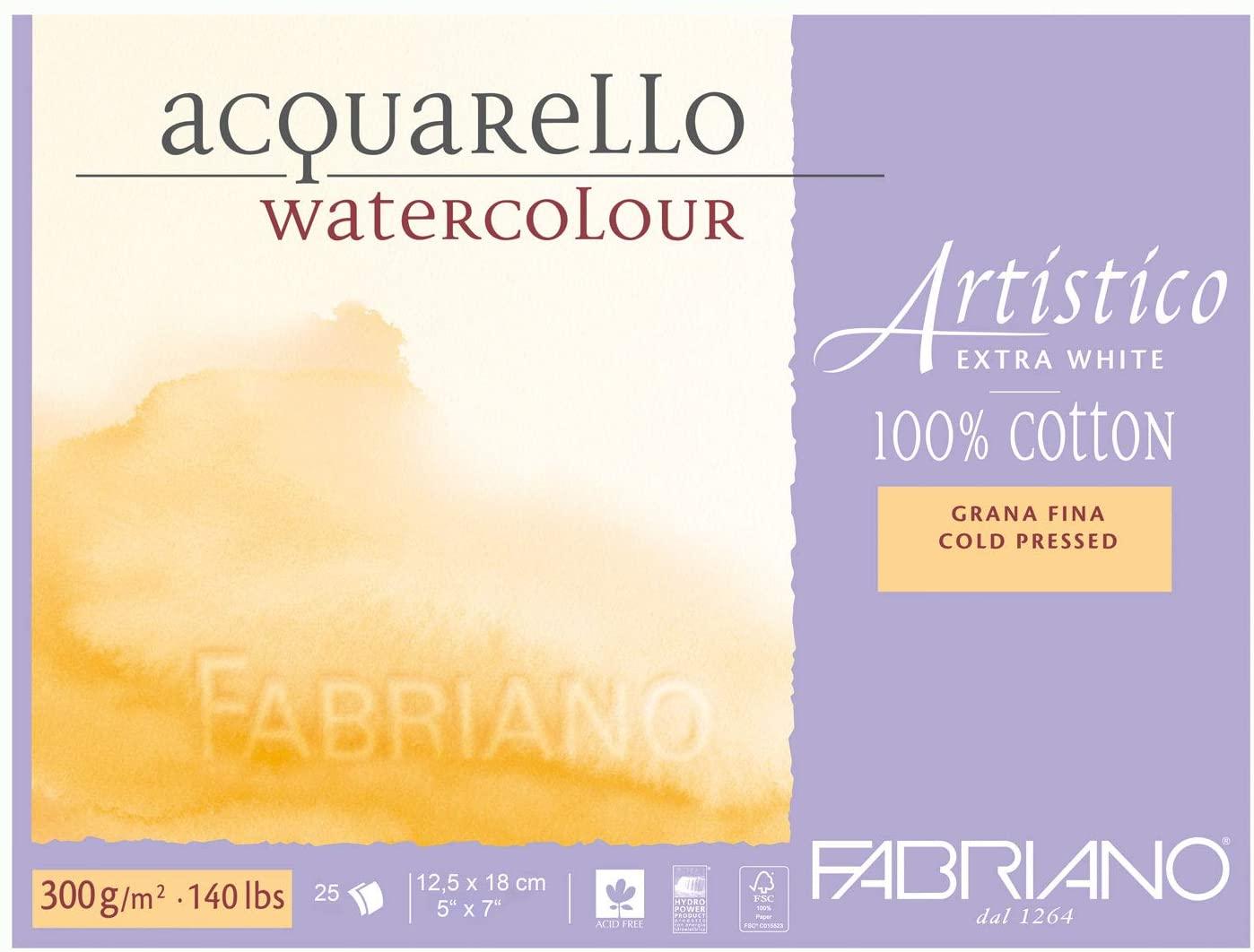 Fabriano AEW BL 4CO 25F GF Watercolour Paper- 12.5x 18 cm Extra White