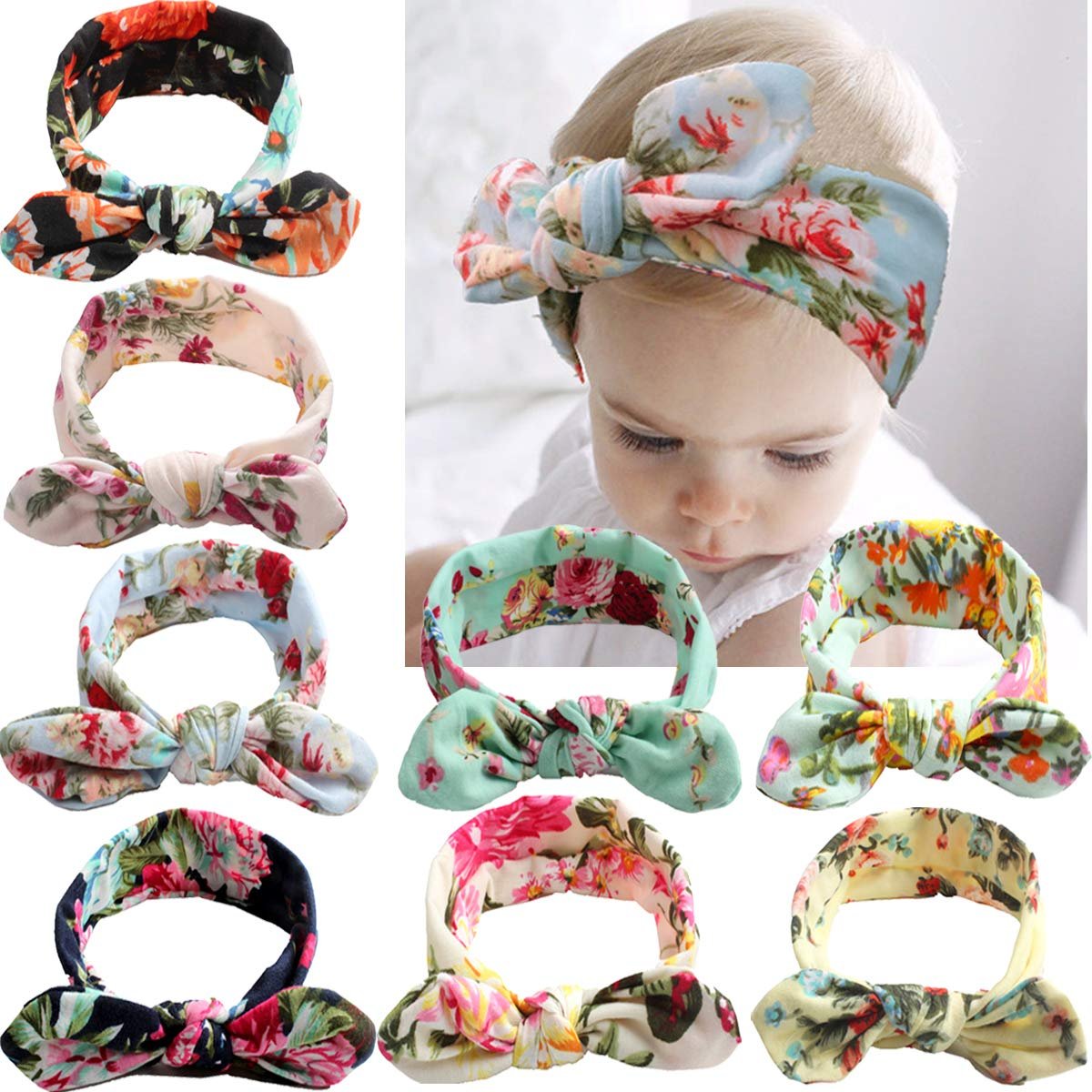 JOYOYO Baby Girls Headbands Hair Bows Turban Knotted Head Bands for Newborn,Toddler and Children Pack of 8