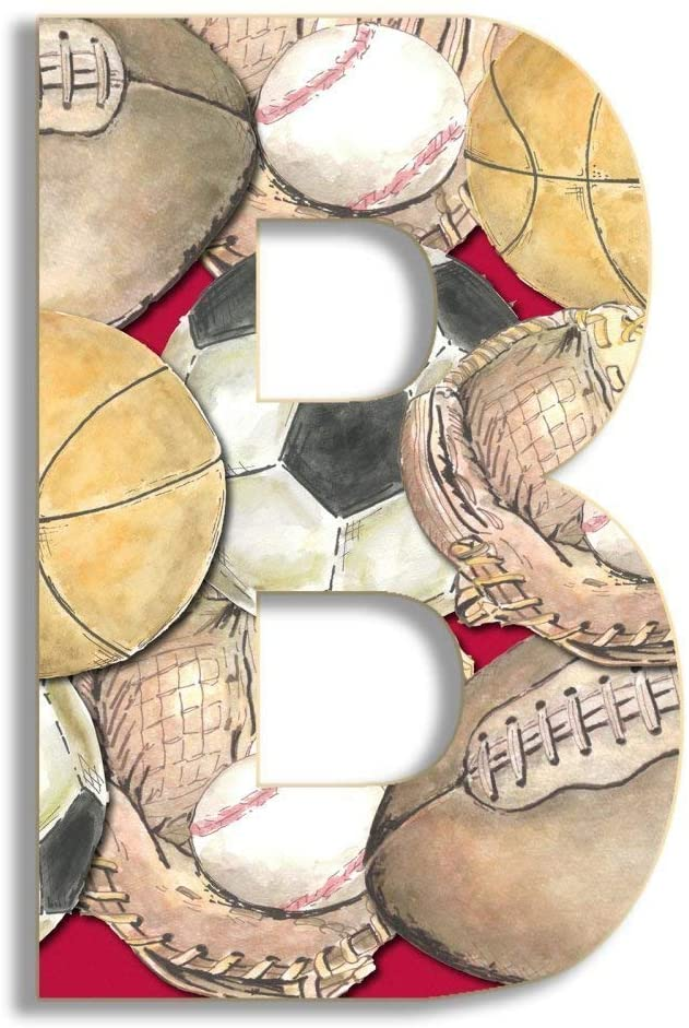 Stupell Home Décor Layered Sport 18 Inch Hanging Wooden Initial, 12 x 0.5 x 18, Proudly Made in USA