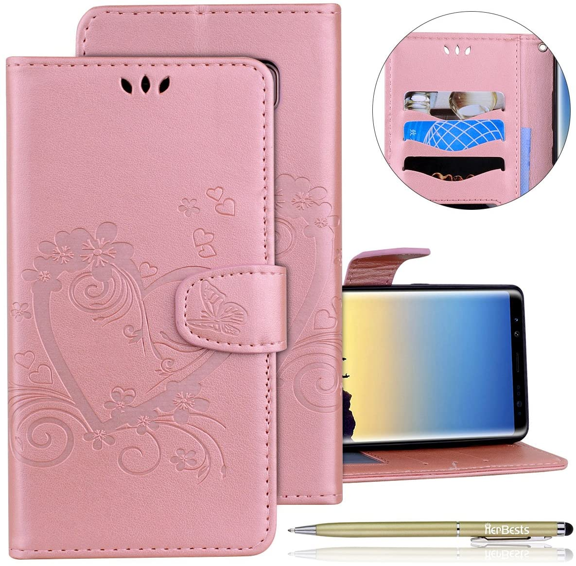 Herbests Compatible with Samsung Galaxy Note 8 Wallet Case Embossed Love Heart Butterfly 3D Design PU Leather Magnetic Flip Protective Case with Kickstand Card Slots Wrist Strap,Rose Gold