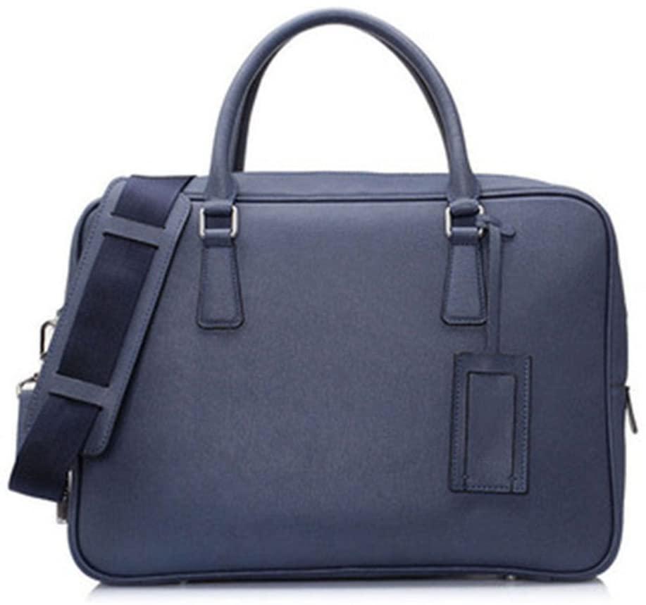 xianwei Leather New Men's Briefcase Business Laptop Bag Messenger Briefcase Handbag (Color : Blue)
