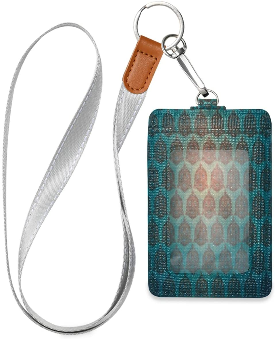 Badge Holders Marvellous Turquoise Pattern Id Badge Holder Vertical, Badge Holder for Women Men, Badge Holder with Lanyard, Work Id Badge Holder, Leather Card Badge Holder for Office School Id
