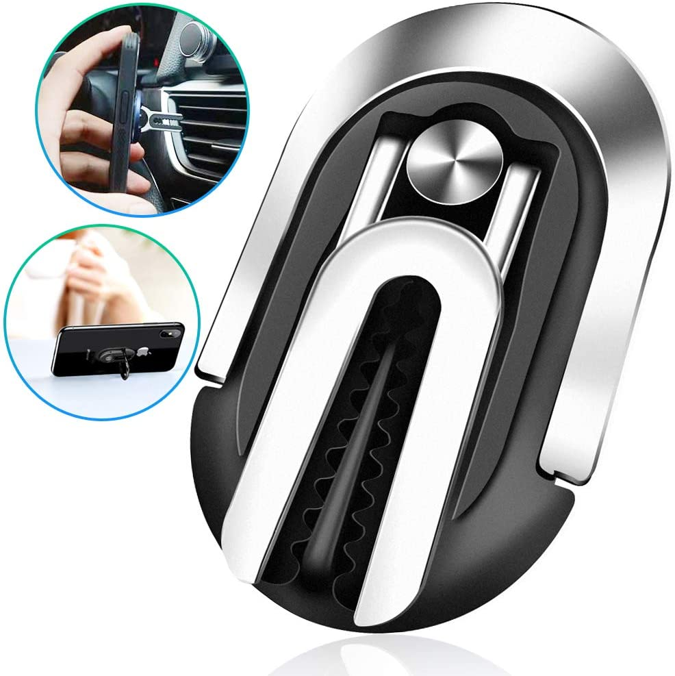 Metal Phone Ring Holder, Rommisie 3-in-1 Universal car Bracket, Mobile Phone Bracket and Mobile Phone Ring Buckle are Suitable for All Mobile Phones, 360 °Rotation and 120 °Turning (Black)