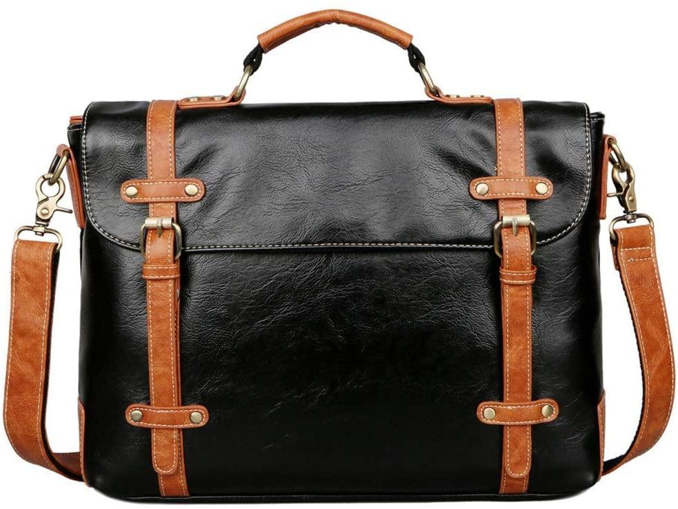 PUEEPDEE Business Briefcase for Men Shoulder Handbags Vintage with an Removable Shoulder Strap Black (Color : Black, Size : 37928cm)