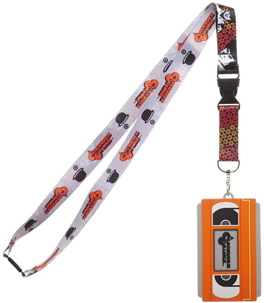 A Clockwork Orange Lanyard with Molded VHS Rubber ID Badge Holder