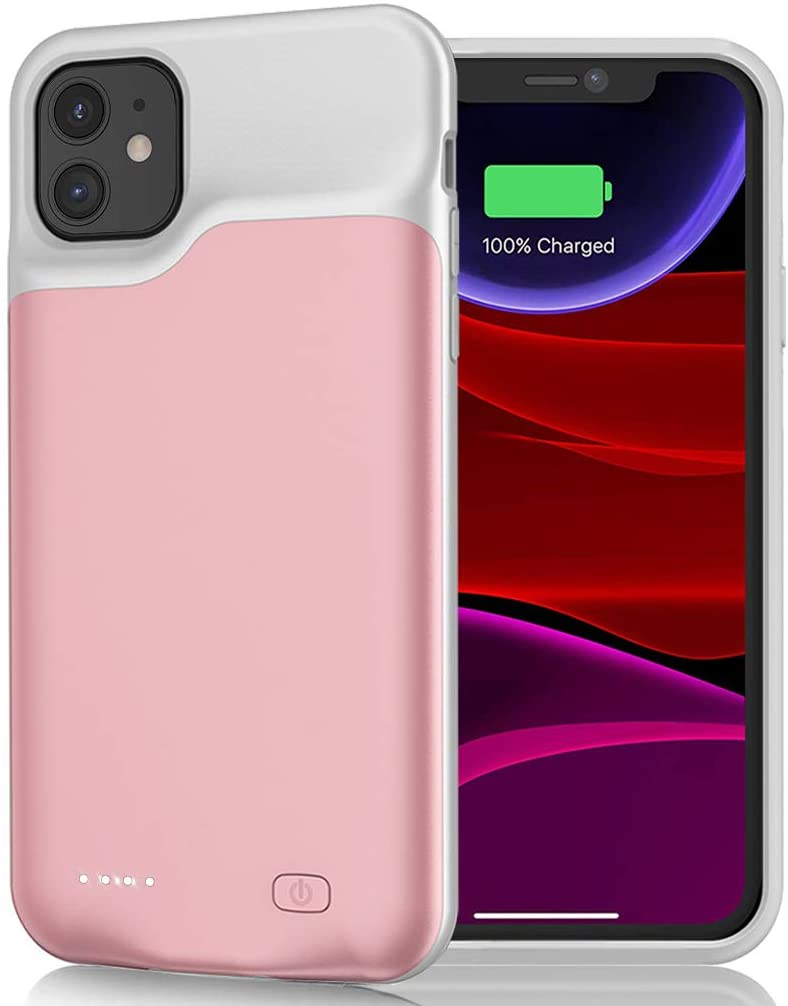 Battery Case for iPhone 11, 6000mAh Portable Rechargeable Battery Pack Charging Case Compatible with iPhone 11 (6.1 inch) Extended Battery Charger Case (Pink)