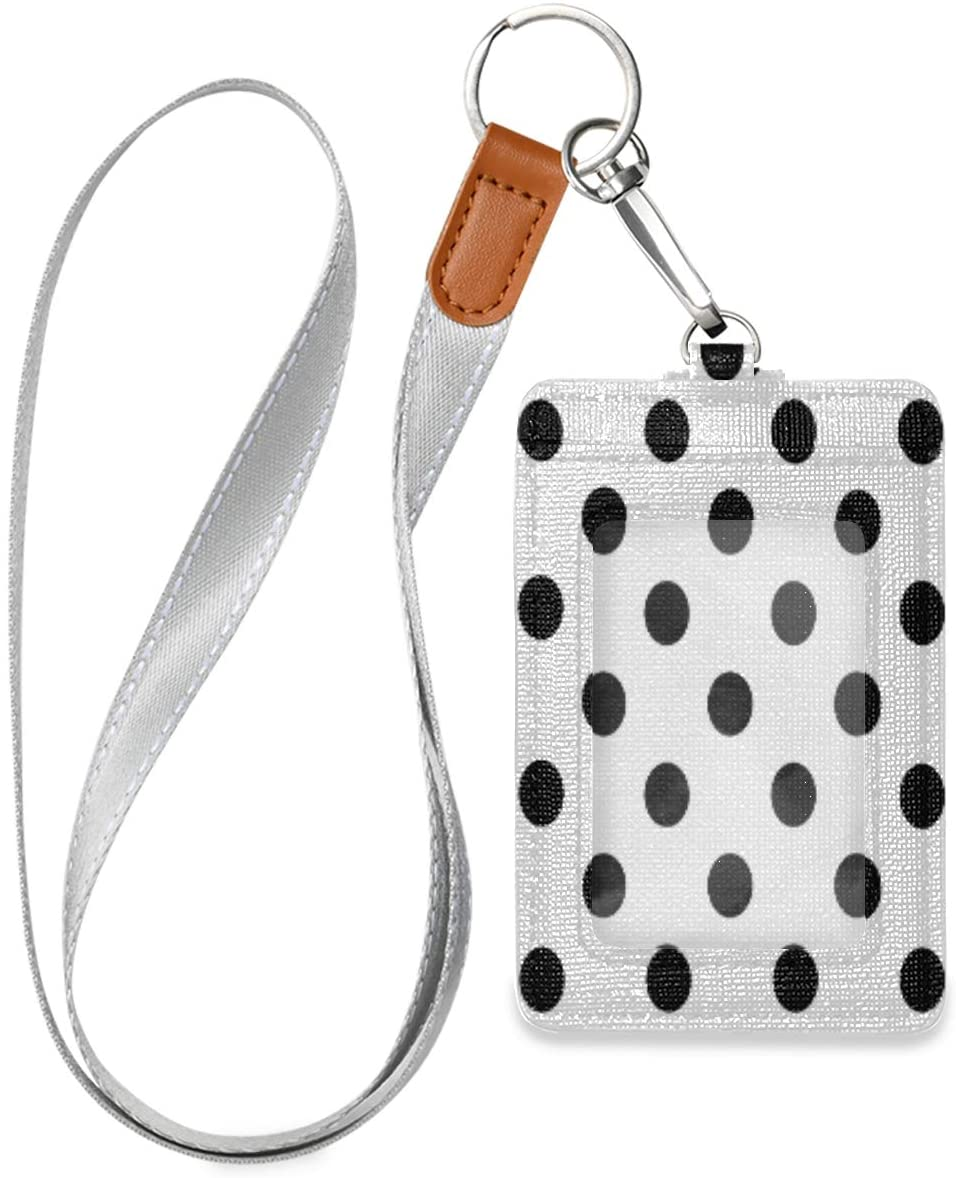 Polka Dot Badge Holder with Lanyard, Vertical PU Leather ID Card Holders with 1 ID Window and 2 Card Slots