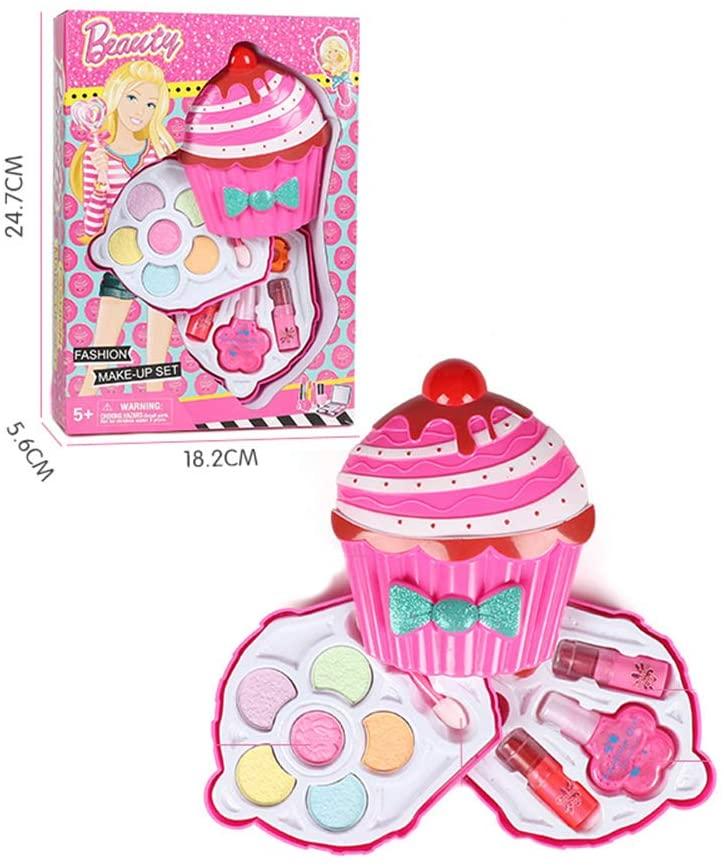 XuBa Girls Makeup Kit Set Mini Makeup Box - Little Girls Pretend Makeup Kit Cosmetic Pretend Toys Children Best Gift Toy Set Double Cake 79687H7 Gag Gifts for Kids