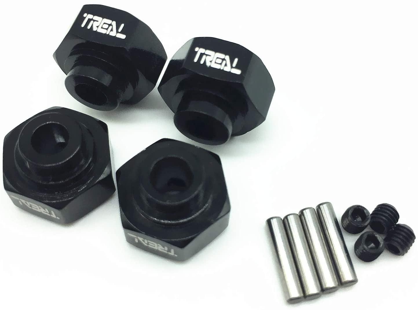 Treal Aluminum Hex Wheel Hub Set Hex Adapter (4) for Axial Wraith - Black