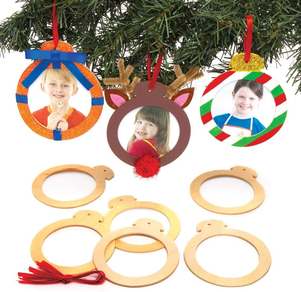 Baker Ross Wooden Photo Ornaments, Christmas Arts and Crafts (Pack of 10)