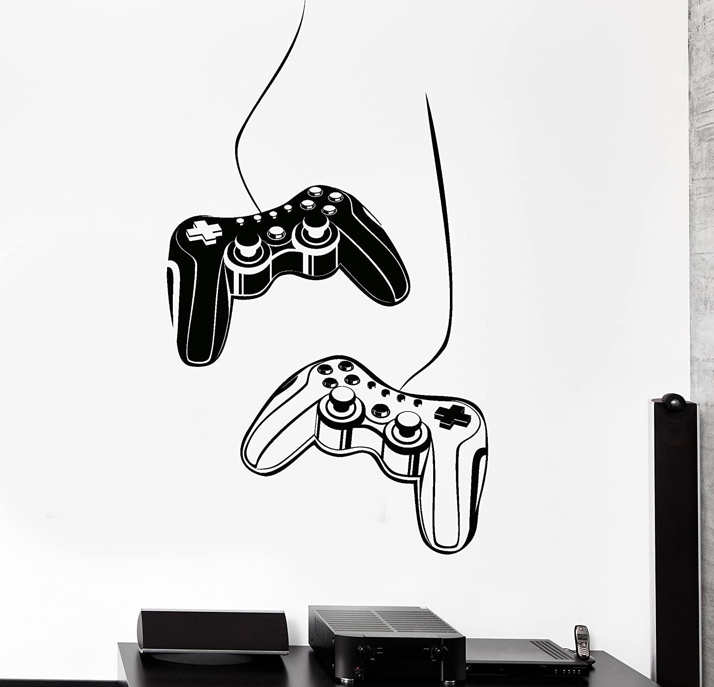 Joystick Wall Decal Gamer Video Game Play Room Kids Vinyl Stickers Art (ig2532) M 22.5 in X 35 in Black