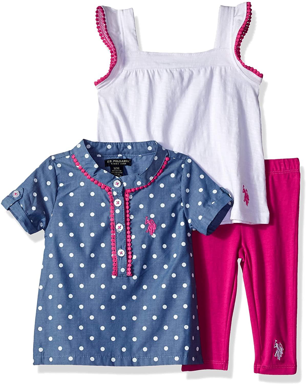 U.S. Polo Assn. Baby Girl's Sport Shirt, Knit Top and Legging Set Pants