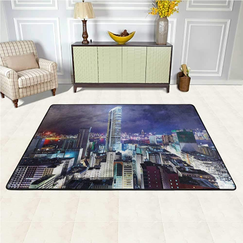 Rugs City, Downtown Hong Kong Night Baby Crawling Mat Suitable for Children Nursery 6.5 x 10 Feet