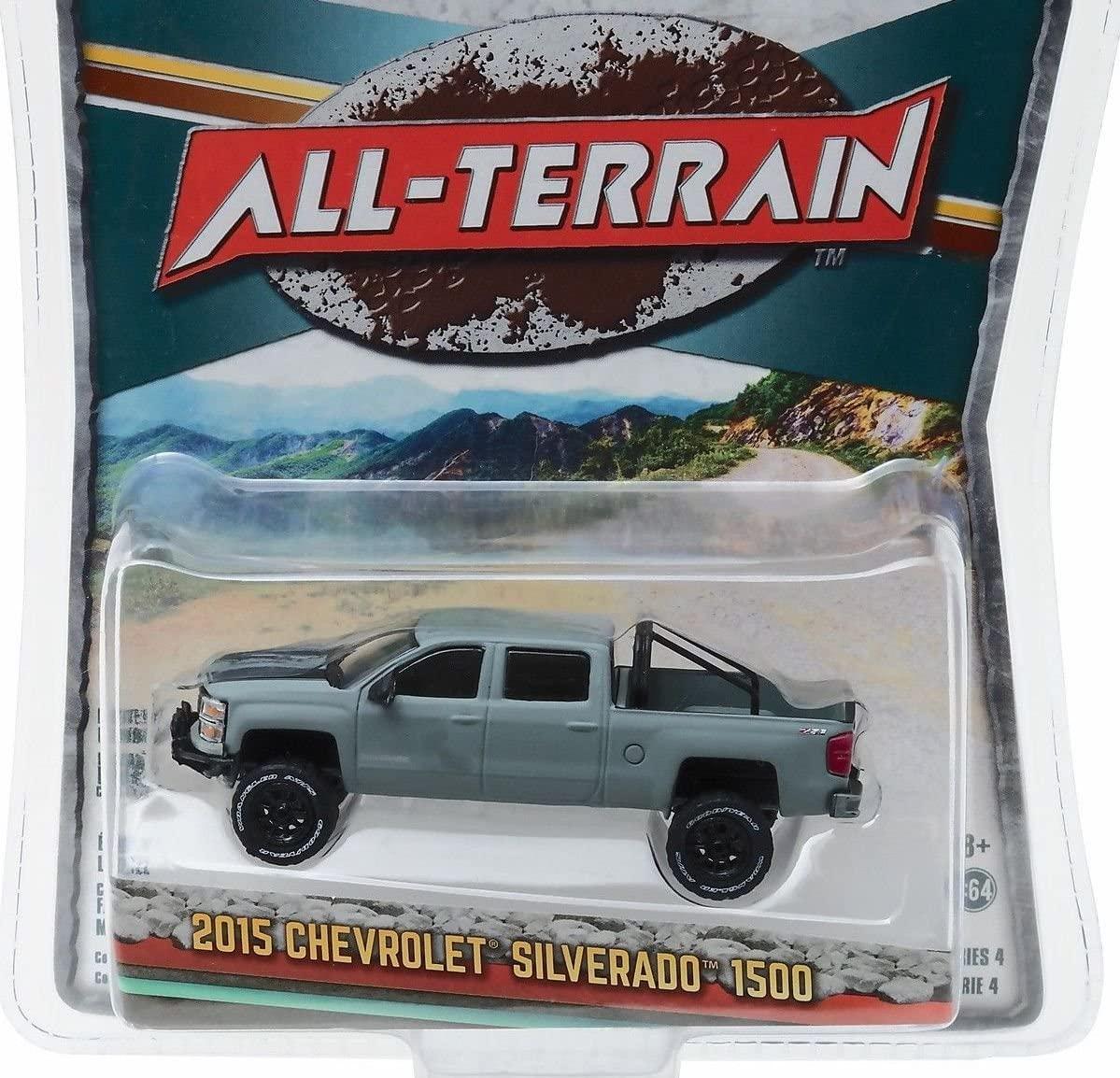 Greenlight New 1:64 All-Terrain Series 4 - Grey 2015 15 Chevrolet Silverado 1500 Diecast Model Car