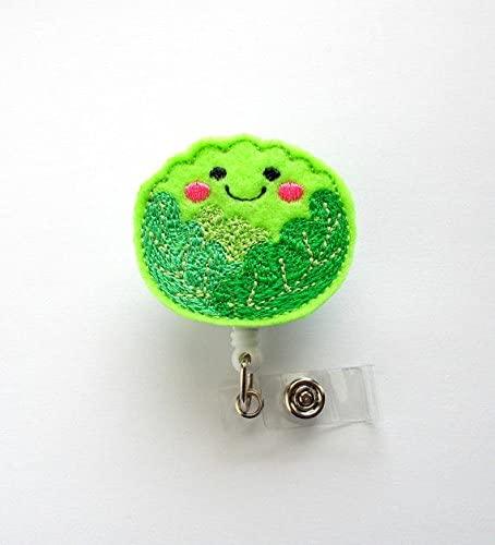 Cabbage ID Felt Badge Holder - Funny Badge Reel - Nurses Badge Holder - Cafeteria Worker Badge - Dietitian Badge - Food Badge Clip - RN