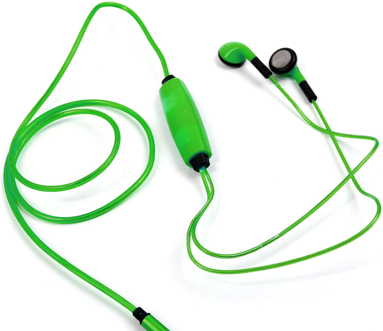 DURAGADGET Glowing Neon Light-Up USB Rechargeable Earphones in Dazzling Green - Suitable for Yamaha PSR-F50| PSR-E253 /Casio SA-78H5 SA-78| SA-46H5 SA-46 & SA-77