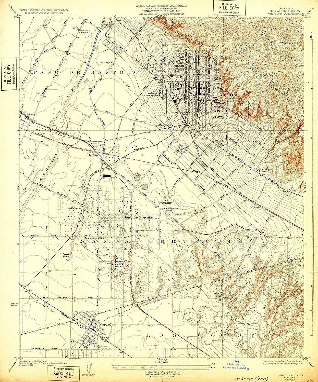 Map Print - Whittier, California (1925), 1:24000 Scale - 24