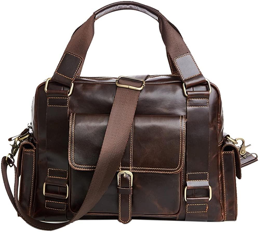 Genda 2Archer Real Leather Briefcase Laptop Handbag Messenger Business Bags for Men