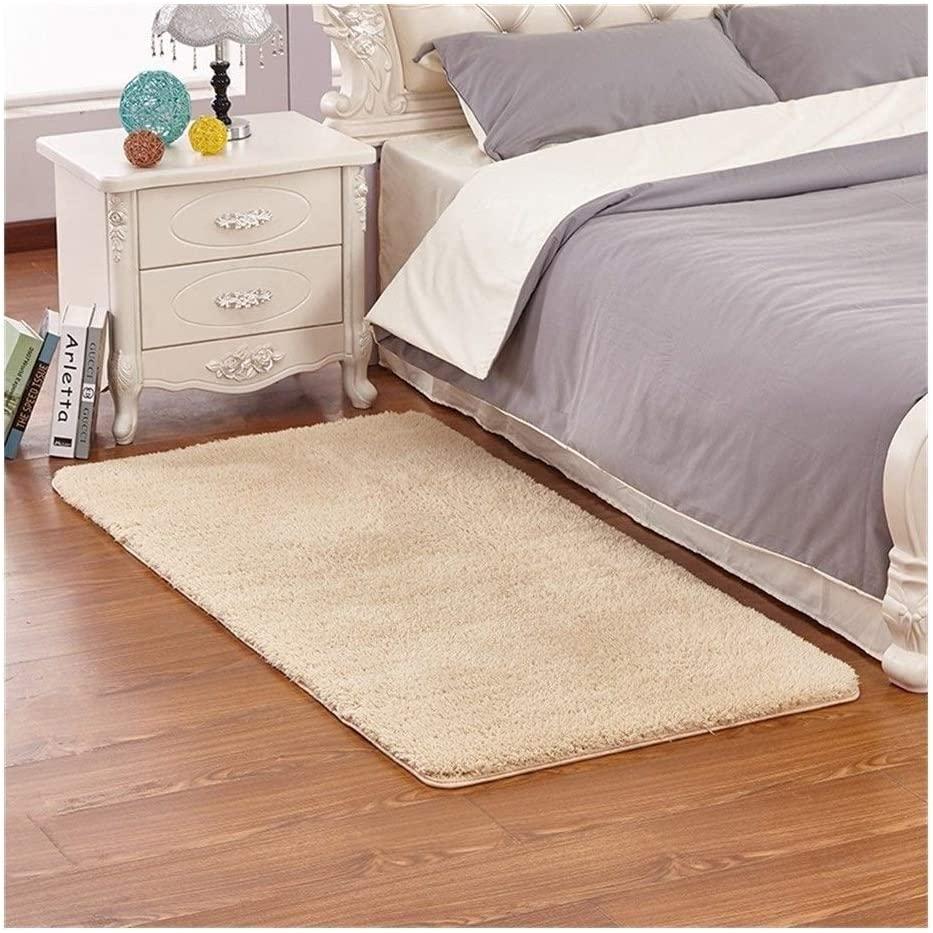 ZJX-F Bedroom Bedside Rug, Hairy Short Velvet Area Rugs Comfortable Skin-Friendly Living Room Bedroom Coffee Table Entrance Sofa Non-Slip Carpet Mat (Color : Beige, Size : 80×160cm)