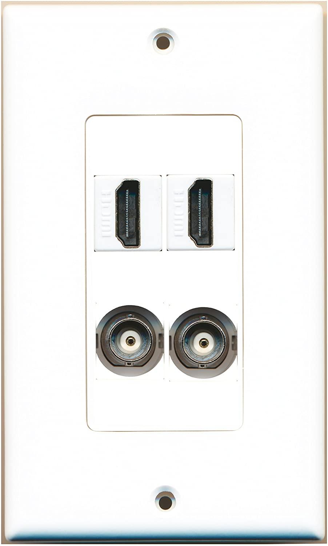 RiteAV - 2 Port HDMI 2 Port BNC Wall Plate Decorative
