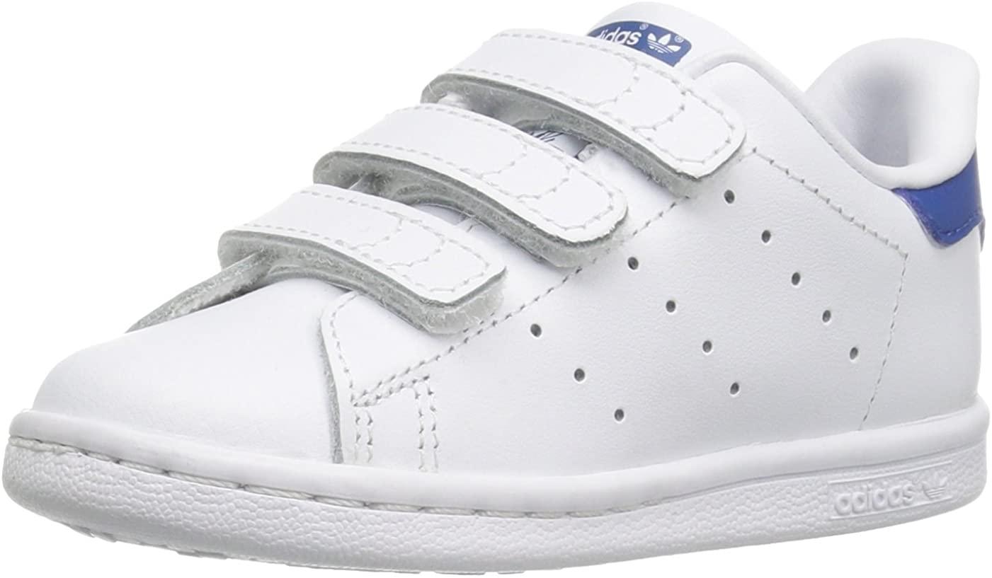 adidas Originals Baby Stan Smith Cloudfoam Sneaker, Footwear White/Footwear White/EQT Blue, 4K