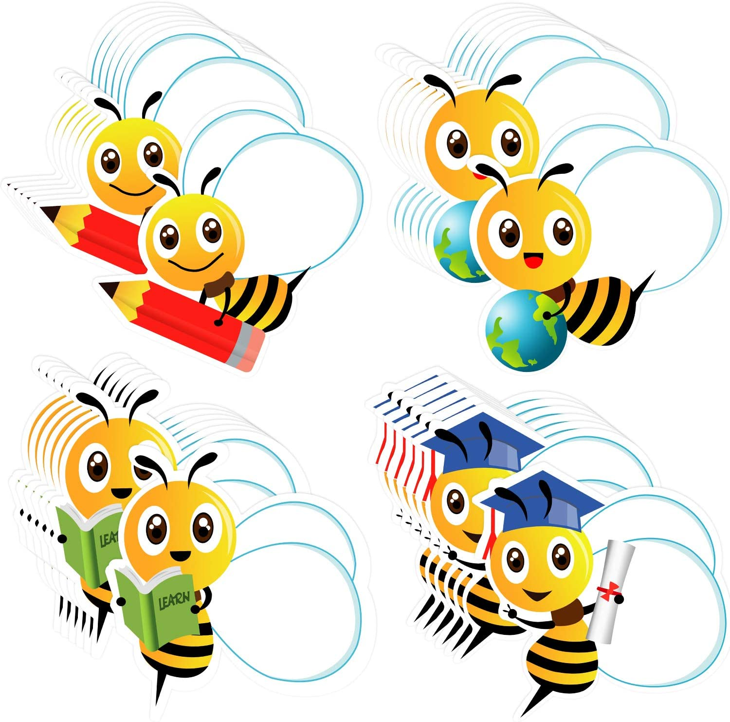 100 Pieces Bees Cutouts Stickers Self-Adhesive Bees Bulletin Board Classroom Decoration Stickers Bee Name Tag Labels