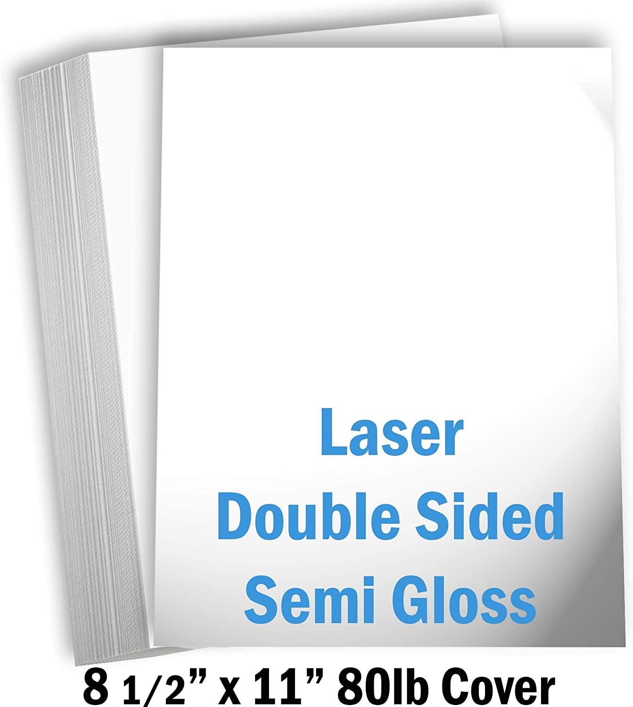 Hamilco White Semi Gloss Cardstock Paper - 8 1/2 x 11