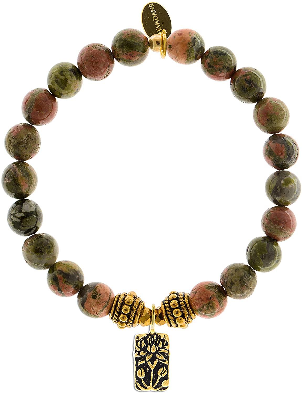 EvaDane Natural Unakite Gemstone Rope Bead Lotus Charm Stretch Bracelet