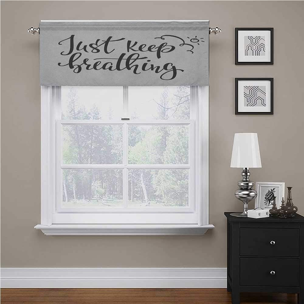 Just Breathe Bedroom Blackout Valance Tier Just Keep Breathing Phrase Hand Writing with Sun and Clouds Doodle for Kids Room/Baby Nursery/Dormitory Charcoal Grey White, 60