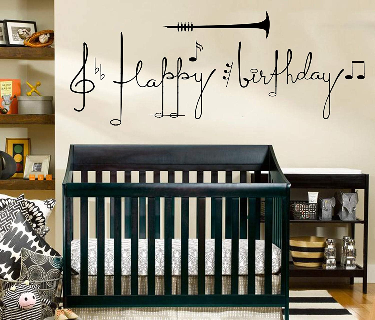 Diuangfoong Large Music Happy Birthday Quote Wall Decal Happy Birthday Party Decal Music Note Birthday Quote Vinyl Wall Sticker Kids Room