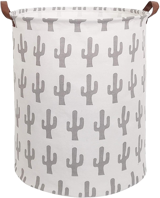 CLOCOR Large Storage Bin-Cotton Storage Basket-Round Gift Basket with Handles for Toys,Laundry,Baby Nursery (Grey Cactus)