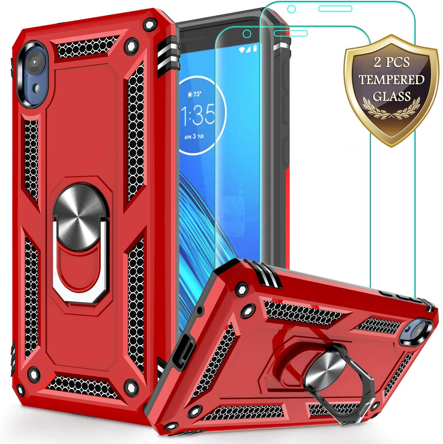 Moto E6 Case with Tempered Glass Screen Protector [2Pack], Jshru Military Grade Ring Car Mount Kickstand Phone Case For Motorola Moto E6 Red