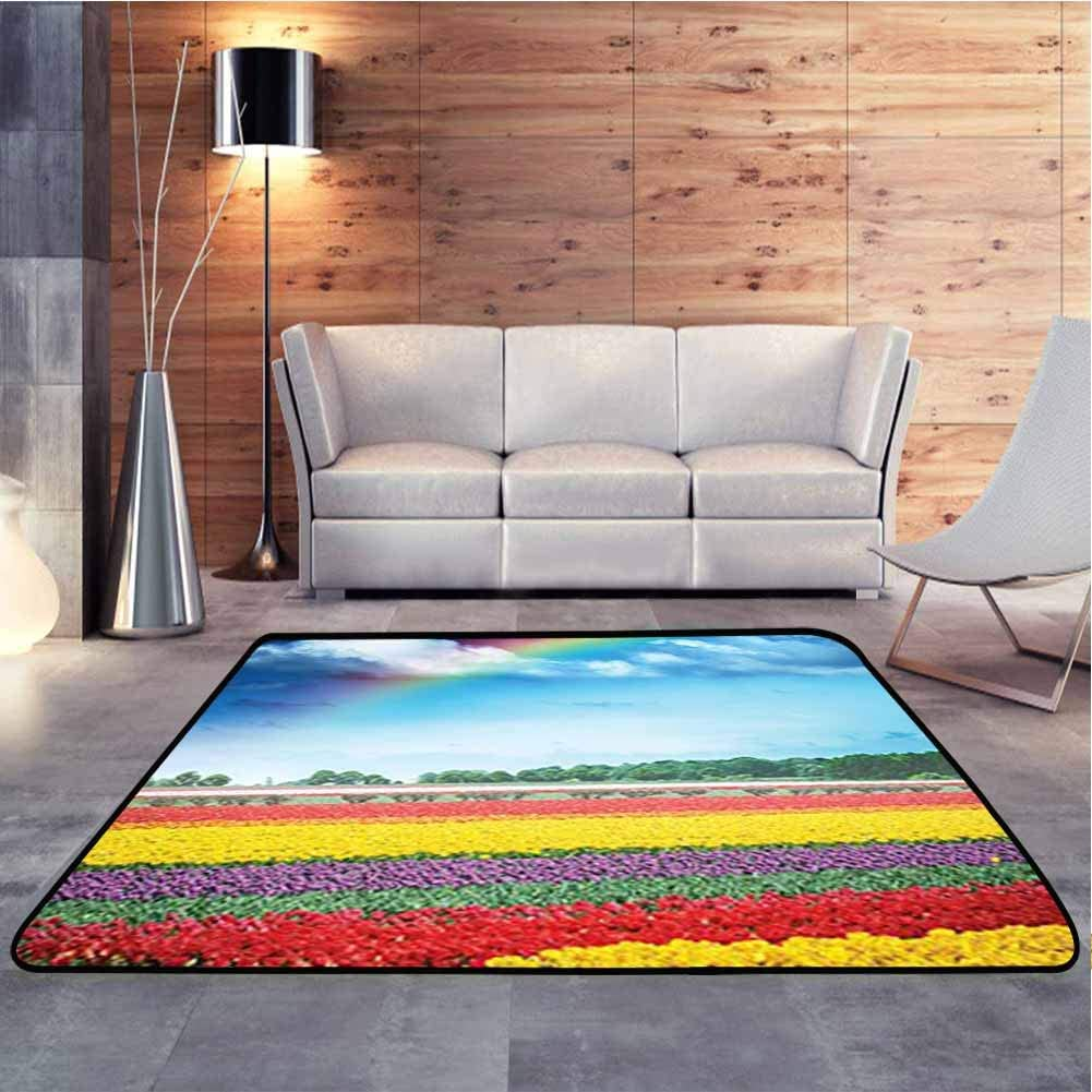 Nursery Rugs Rainbow Over Tulip Field Blooms Distant Forest at Spring Time Holland Blue Baby Floor Playmats Crawling Mat for Bedroom Playroom Nursery, 5 x 7 Feet
