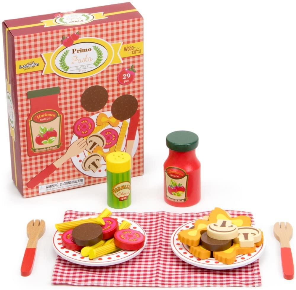 TMG Deluxe Wooden Pretend Food Pasta Play Set - 29 Pieces!