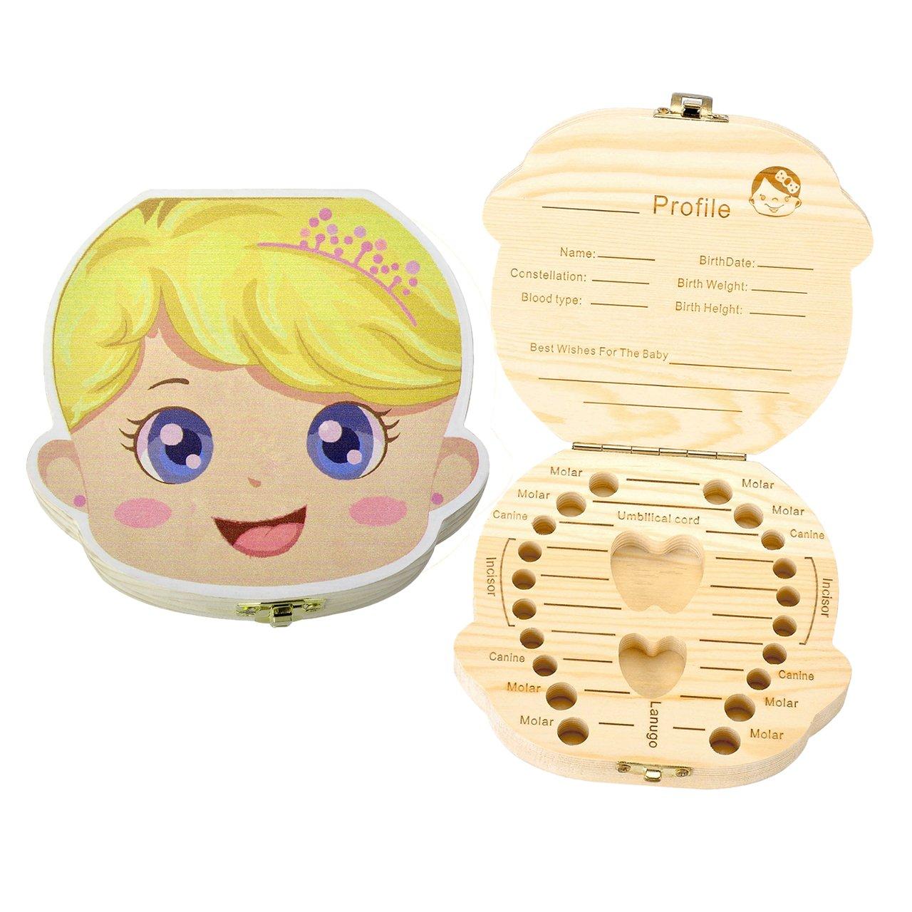 Mogoko Cute Baby Tooth Box, Wooden Milk Teeth Storage Organizer, Kids Lost Tooth Keeper Box for Girl (English, Princess)