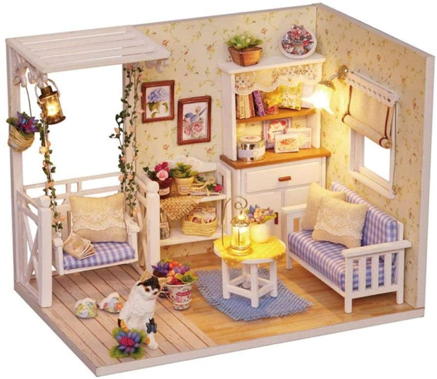 Doll House Furniture DIY Miniature 3D Wooden Miniaturas Dollhouse Toys for Children Birthday Gifts Casa Kitten Diary