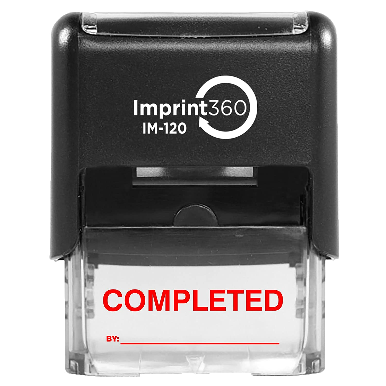 Supply360 AS-IMP1120R - Completed Stamp with by: Line, Red Ink, Heavy Duty Commerical Self-Inking Rubber Stamp, 9/16