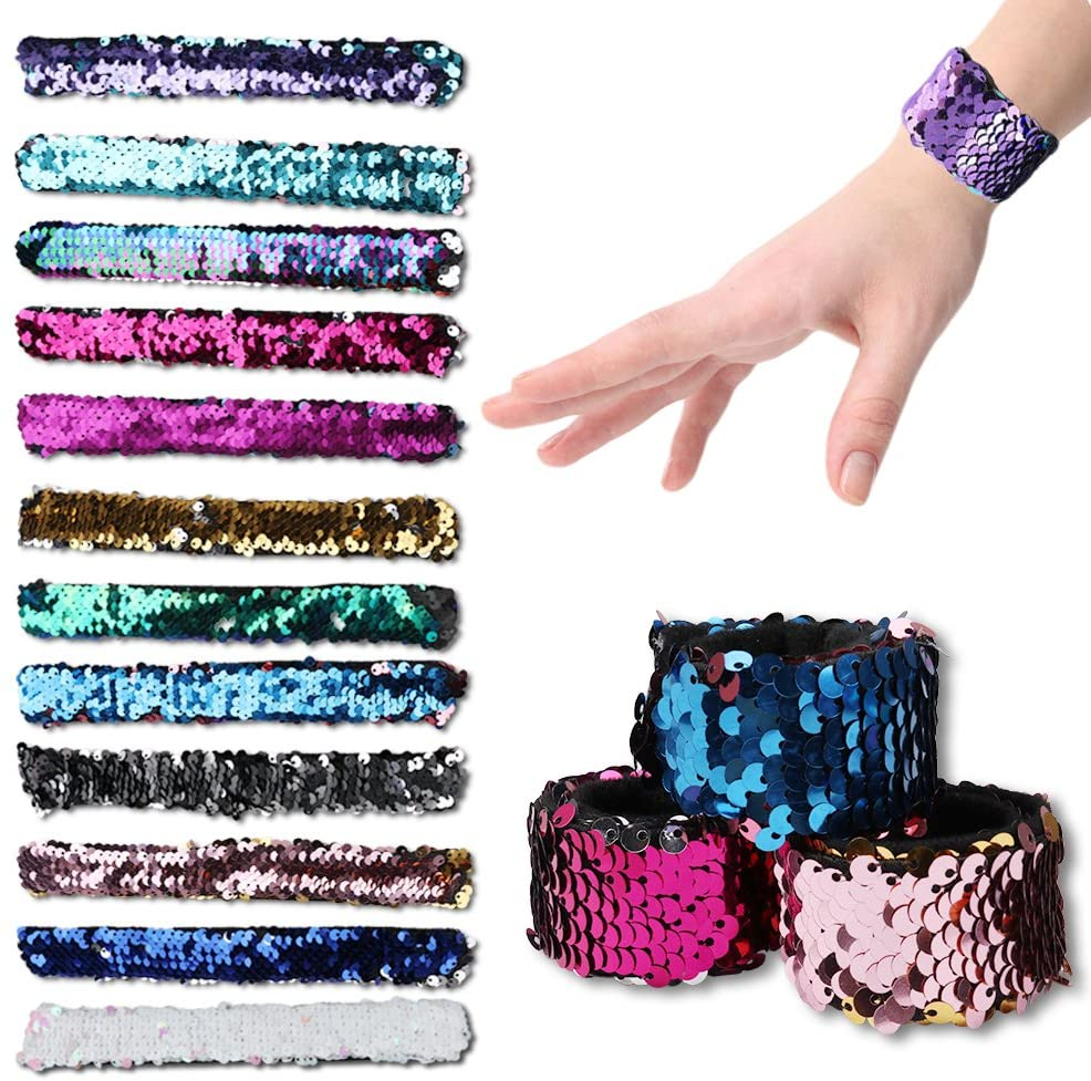 Amariver Two Color Mermaid Sequins Ring Bracelet for Party Birthday Party Favors, 12 Pack Kids Decocorative Mermaid Slap Bracelet for Girls, Boys and Women